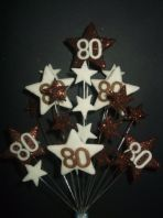 Star age 80th birthday cake topper decoration in choc and cream - free postage